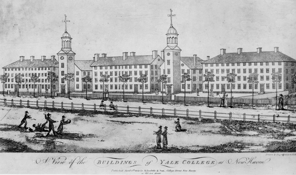 Engraving of the Buildings of Yale College, 1807